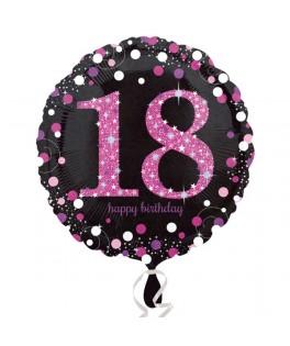 ballon chiffre 18 alu pois roses
