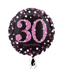 ballon chiffre 30 alu pois roses