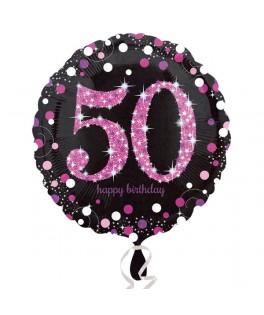 ballon chiffre 50 alu pois roses