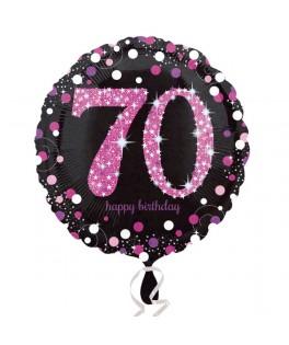 ballon chiffre 70 alu pois roses