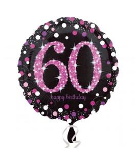 Ballon chiffre 60 alu pois roses