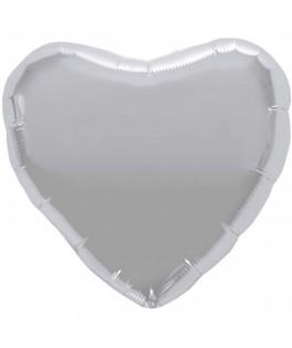 ballon metallise coeur argent