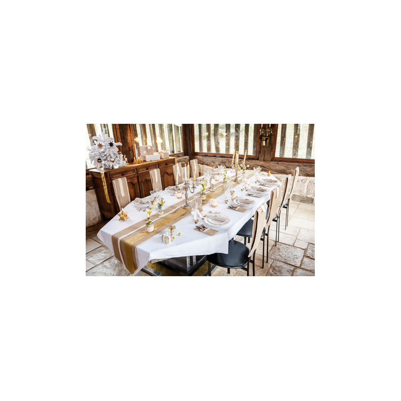 Chemin de table toile de jute dentelle happy fiesta lyon - Chemin de table en toile de jute ...