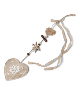 suspension coeur en bois