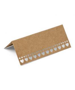 Etiquettes marque-places carton coeur ivoire  x10