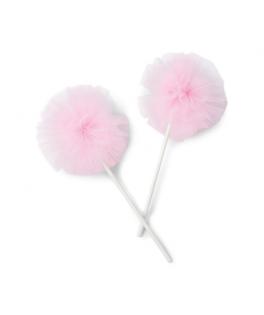 Pompons de tulle rose sur pic  x2