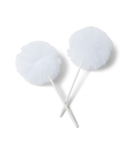pompons tulle blanc