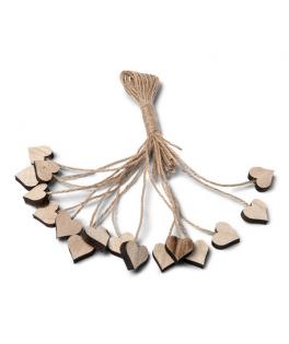 Coeurs en bois et petits liens  x16