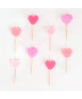 Bougies coeurs roses  x8