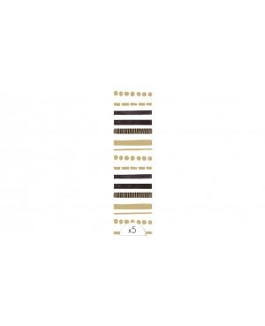 5 Tatouages éphémères bracelet barres noires et or