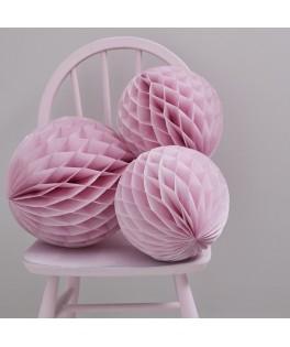 Boules papier alvéolées rose