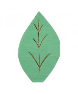 serviettes feuilles vertes
