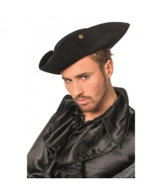 Chapeau Pirate Tricorne daim noir