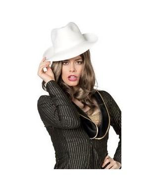 Chapeau Gangster Borsalino blanc