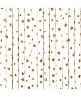 25 Pailles en papier Etoiles dorées