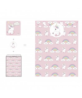 8 Set Invitations Baby Licorne