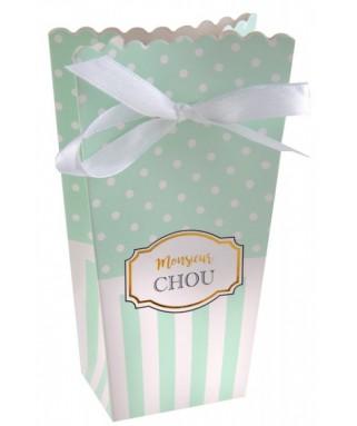 6 Boîtes à popcorn rayées vert menthe