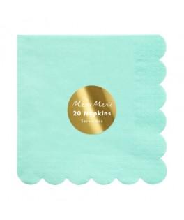 20 Grandes serviettes pastel menthe 33 cm