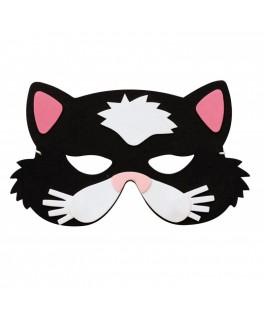 Masque Enfant Chat noir & rose