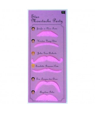 Assortiment de 6 moustaches roses