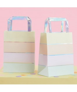 5 Pochettes rayures pastel multicolores