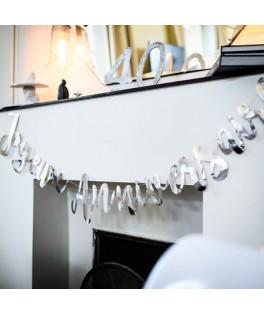 Guirlande Joyeux Anniversaire métallisée argent - 1,80 m