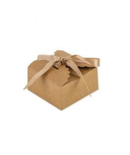 10 Boîtes festonnées kraft & ruban satin