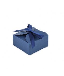 10 Boîtes festonnées marine & ruban satin