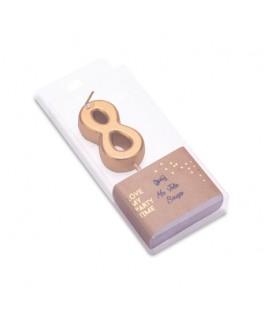 Bougie Chiffre 8 métal dorée