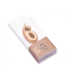Bougie Chiffre 6 métal dorée
