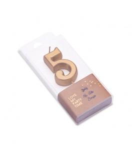 Bougie Chiffre 5 métal dorée