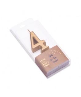 Bougie Chiffre 4 métal dorée