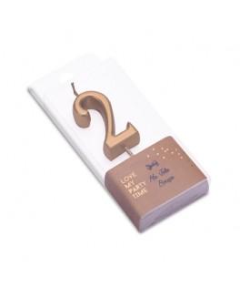 Bougie Chiffre 2 métal dorée