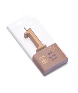 Bougie Chiffre 1 métal dorée