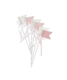 6 Drapeaux velours rose et blanc & noeuds satin