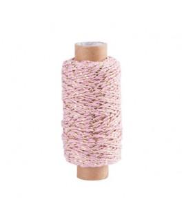 Cordelette rose et fil d'or  4 mm x 50 m
