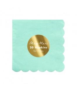 20 Petites serviettes pastel menthe 25 cm