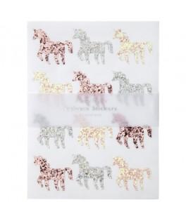 120 Stickers Licornes à paillettes