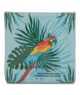 20 Petites serviettes cocktail Perroquet Turquoise - 25 x 25 cm
