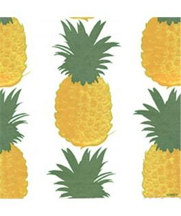 20 Petites serviettes Ananas Fond blanc - 40 x 40 cm