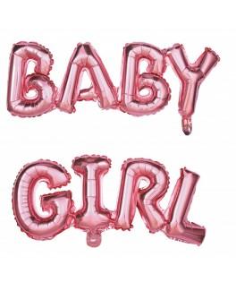 Ballon BABY GIRL rose métallisé