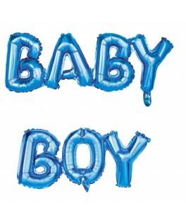 Ballon BABY BOY bleu métallisé