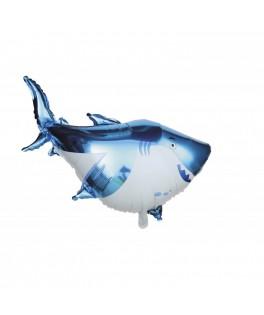 Ballon Requin bleu métallisé