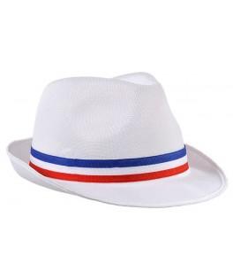 Chapeau Borsalino blanc  France tricolore