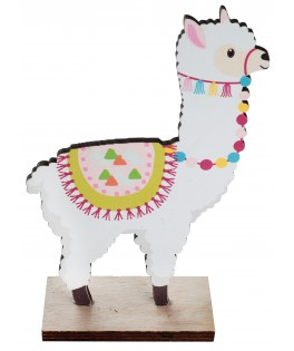 Décoration Lama bois multicolore 12 cm