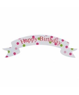Décoration à gâteaux Happy Birthday rose