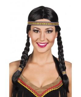 Perruque Indienne noire avec tresses