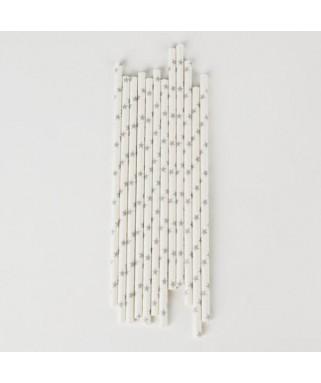 25 Pailles en papier Etoiles argentées