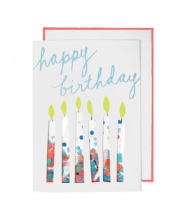 Carte Anniversaire HAPPY BIRTHDAY Bougies confettis