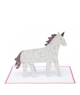 Carte Anniversaire HAPPY BIRTHDAY Licorne Paillettes